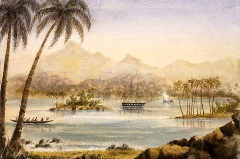 Cook Bay à Moorea. Tableau de Thomas Bent 1857-1858