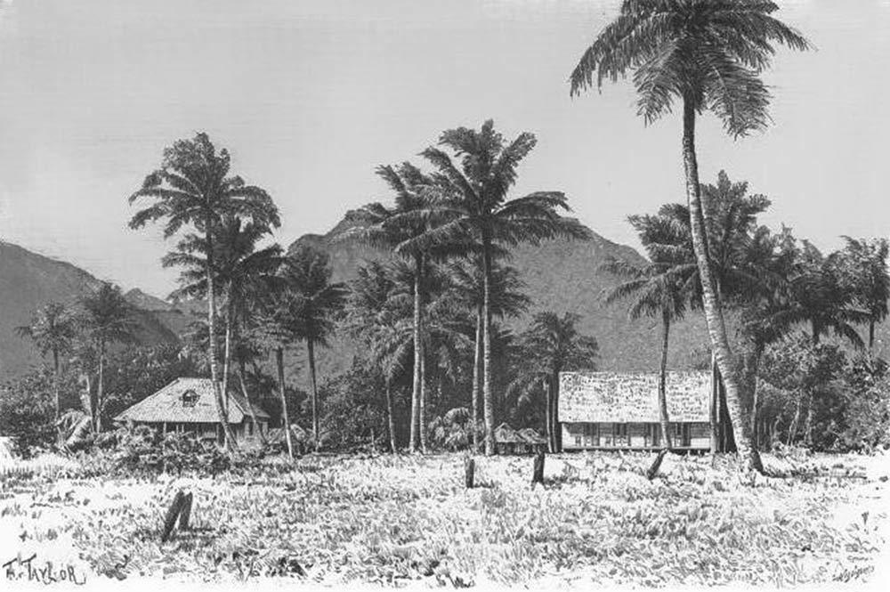 Rurutu, la case du roi et le temple. Dessin de Taylor, 1885