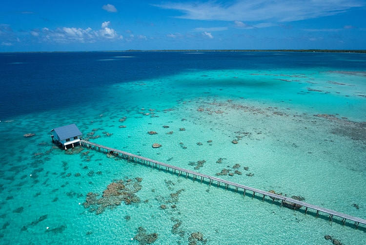 Atoll de Ahe, vue de cerf-volant. Photo Pierre Lesage