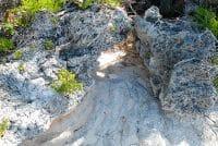 Empreinte du pied de Hono à Niau, Tuamotu.