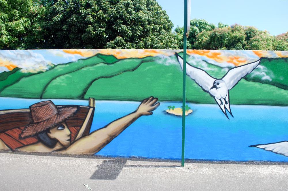 Détail de la fresque aux oiseaux pirae.