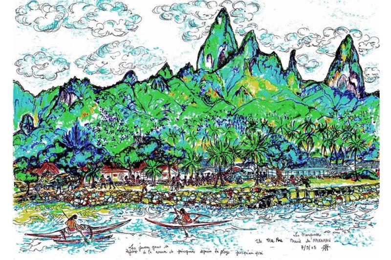 Illustration Yvette Birnie. 7 sept 2005.Baie de Hakahau à Ua Pou
