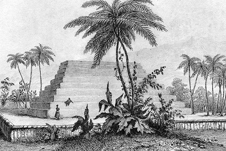 Gravure de J. Wilson du marae Mahaiatea de Papara en 1799
