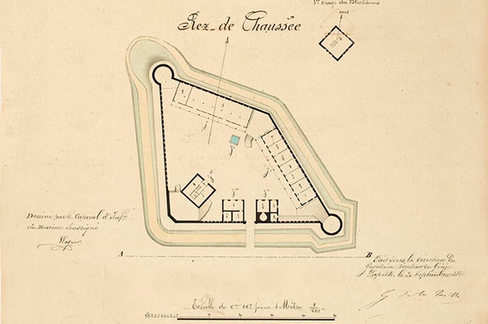 Plan du fort de Taravao, Tahiti. Archives militaires
