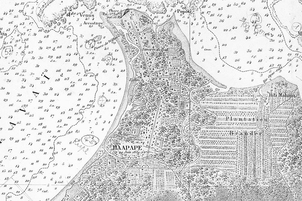 Ancienne carte marine de la pointe Vénus et de Hitimahana. Coll. Olivier Babin