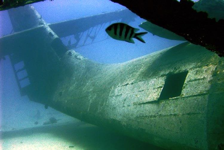 Epave de l'hydravion Catalina dans le lagon de Faa'a.