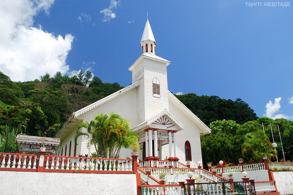 Temple de Pueu de l'église protestante maohi. © Tahiti Heritage