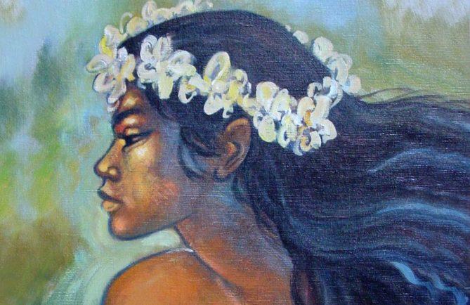 Vahine Tetea à la longue chevelure noire de Tata'a