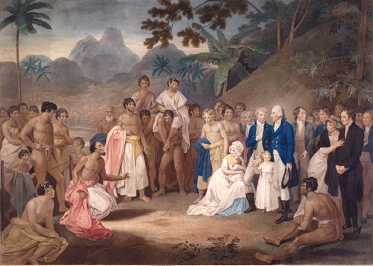Gravure Francesco Bartolozzi : Cession of the District of Matavai in the Island of Otaheite to Captain James Wilson for the Use of the Missionaries 1798.