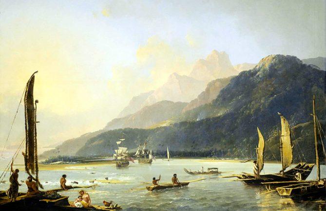 Le navire de Cook, dans la baie de Matavai à Tahiti par Hodges