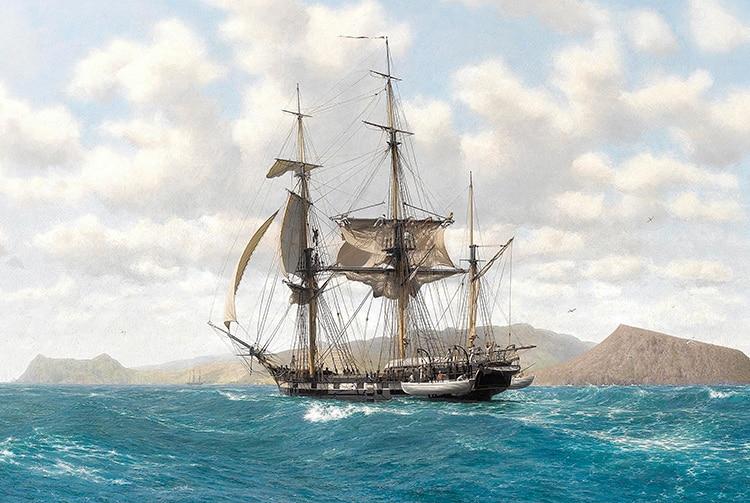 Le navire britannique La Beagle, de Charles Darwin, vers 1835