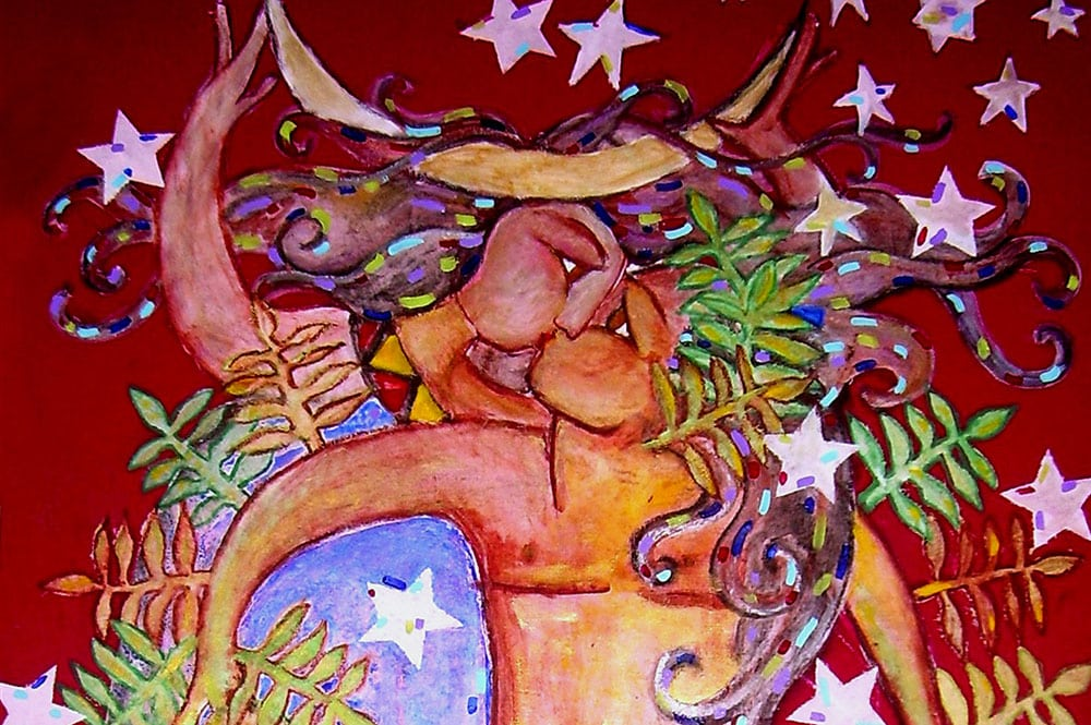 Peinture de Sarahina illustrant Matarii, la période d'abondance