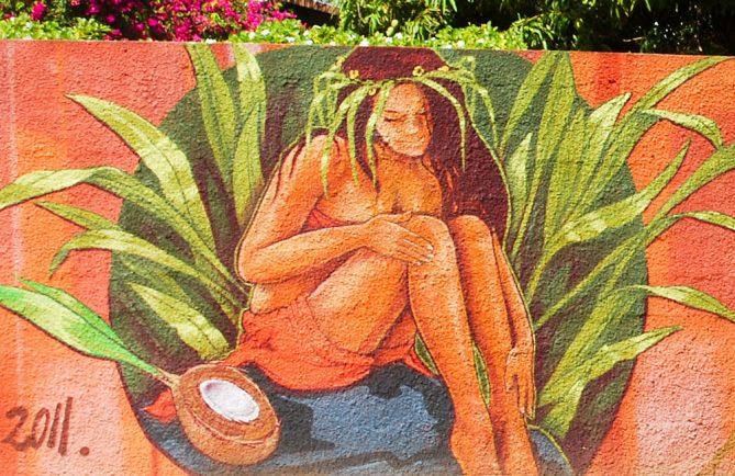 Fresque de la légende de tautiti, rue Gadiot à Pirae. © Tahiti Heritage