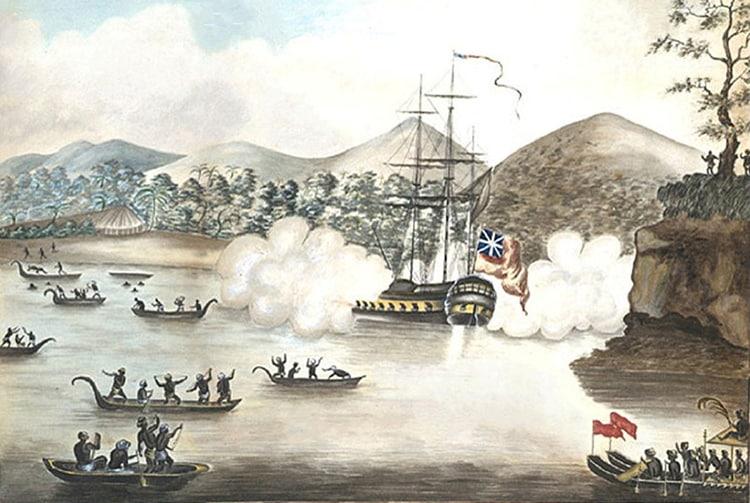 Samuel Wallis et Le Dolphin dans la baie de Matavai