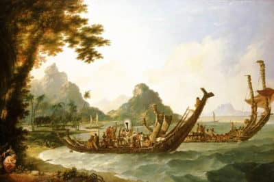 William Hodges, 1777, The War-boats of the Island of Otaheite,