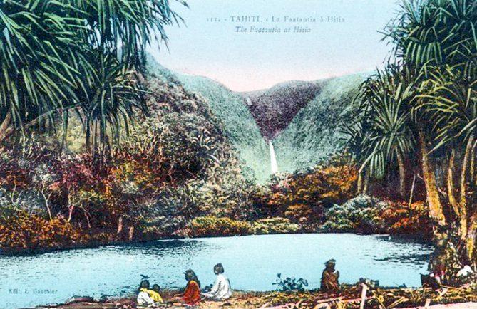 Cascade de la faautatia à Hitiaa Tahiti. Carte postale colorée Gauthier