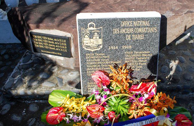 Monument au morts de Tiarei, Hitiaa O Te ra, Tahiti