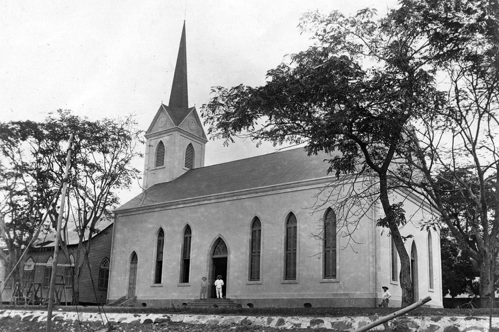 Le temple protestant de Paofai à Papeete en 1907