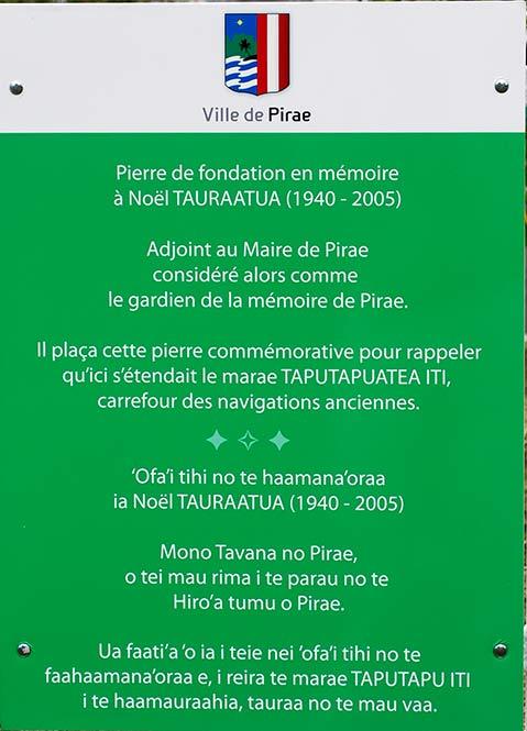 Plaque à la mémoire de Noel Taratua, Aorai Tini Hau à Pirae.