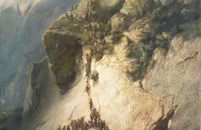 Détail du tableau de Charles Giraud, illustrant la prise du fort de la Fautaua en 1846