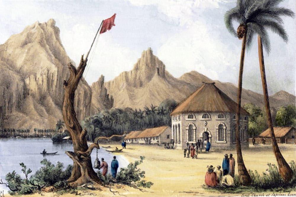 Conway Shiple. Temple Ebenezer de Papetoai à Moorea, en 1840