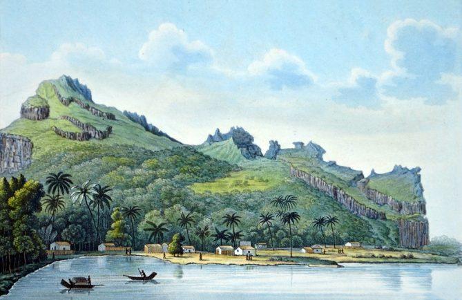 Maupiti, l'île sauvegardée Dessin Isidore Duperrey 1826