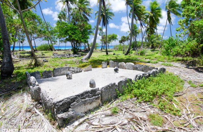 Marae Tainoka de Tahiri Vai Rau, à Fakarava, Tuamotu. © Tahiti Heritage