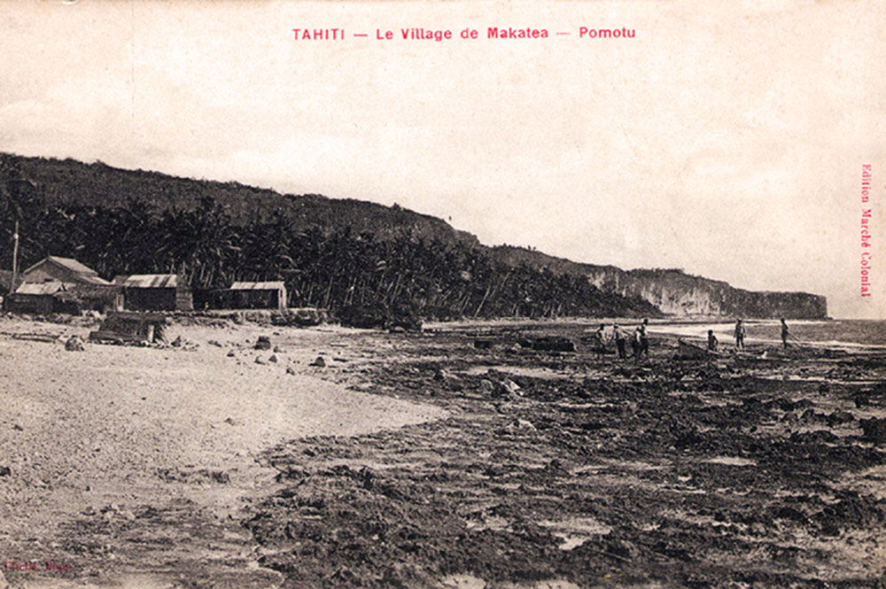Le village de Temao, à Makatea vers 1910