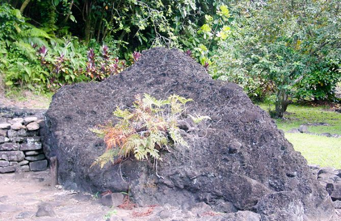 Ofai pahu, pierre tambour de Fare hape, vallée de la Papenoo.