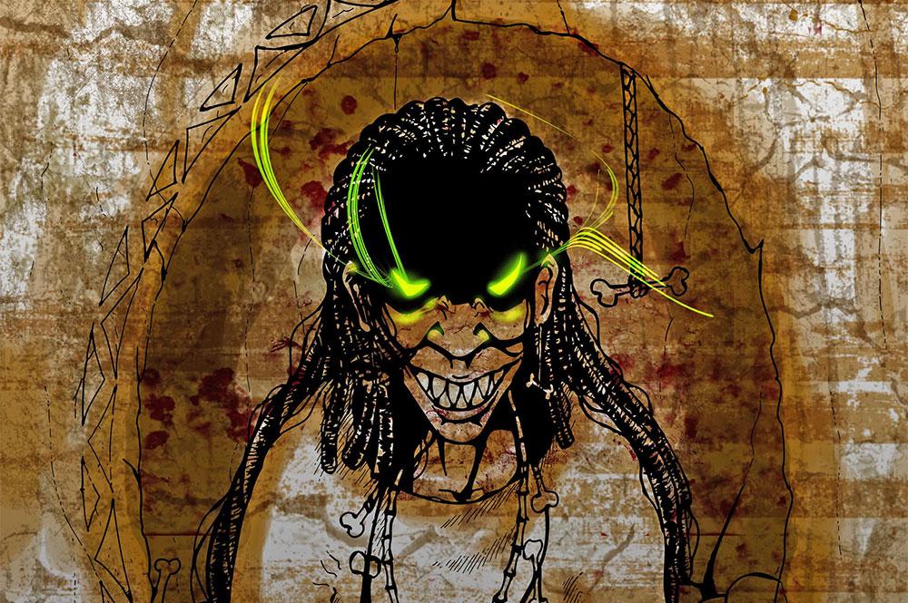Sorcière de Tubuai (détail) .Illustration de Vashee
