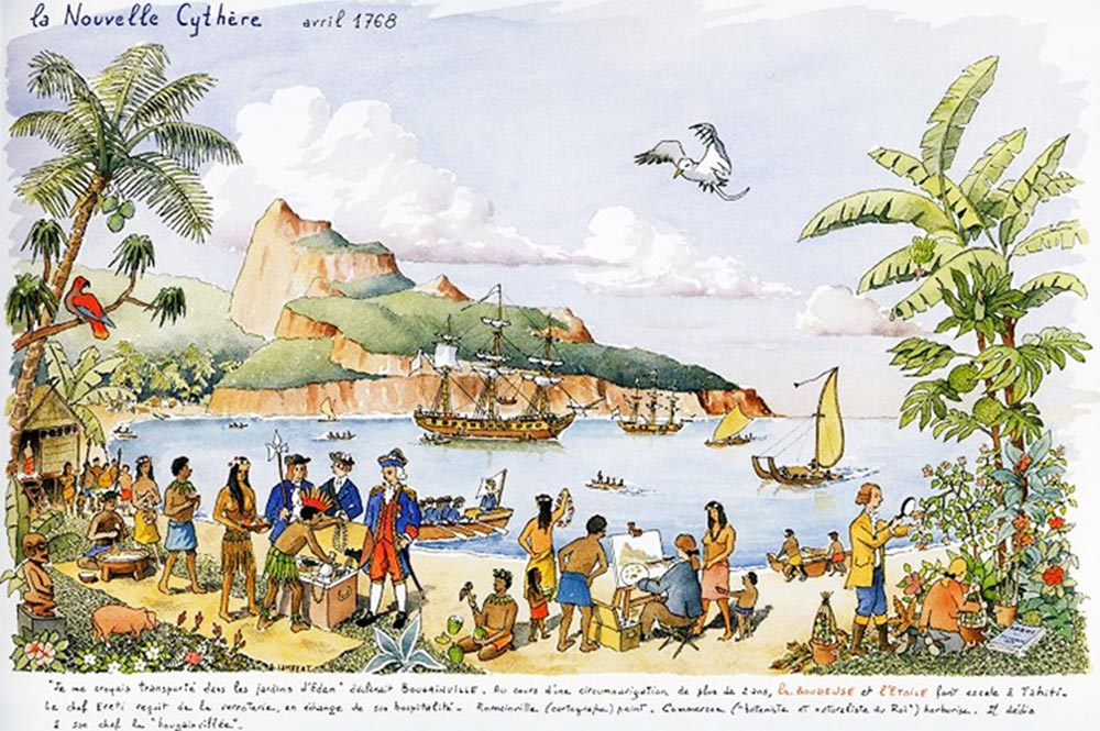 Bougainville arrivant à Hitiaa (Tahiti)