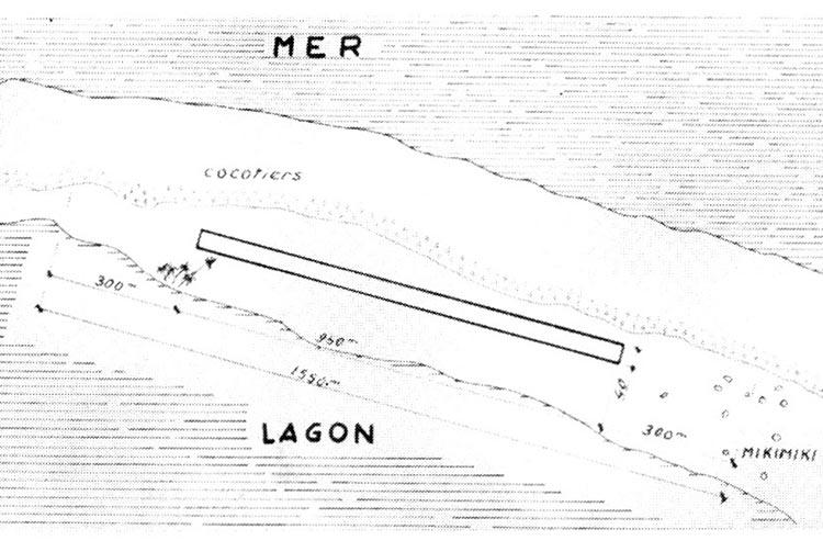 Plan de la piste d'atterrissage Japy à Fakahina