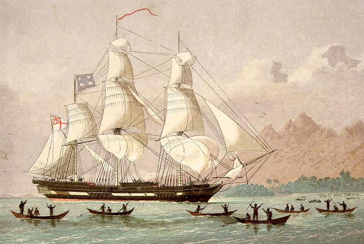 Arrivée à Tahiti du navire Duff des missionnaires anglais le 5 mars 1797