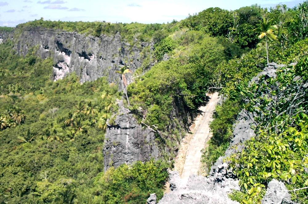 Route de Moumu à Makatea, vue du plateau. Photo Paul Niva