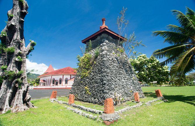 Pointe Outuaiai, site de la chapelle royale à Arue