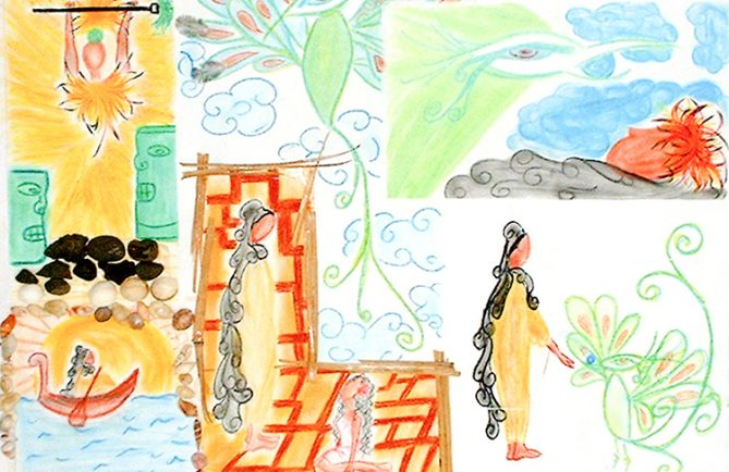 Légende de Nahiti e Rua. illustration Romina Faatuarai