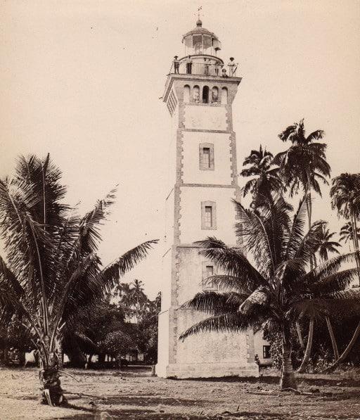Le phare de la Pointe Vénus à Mahina, en 1885