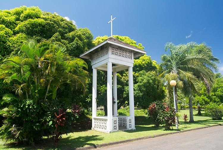 Clocher de l'église Saint-Paul de Mahina, Tahiti 2015 © Tahiti Heritage