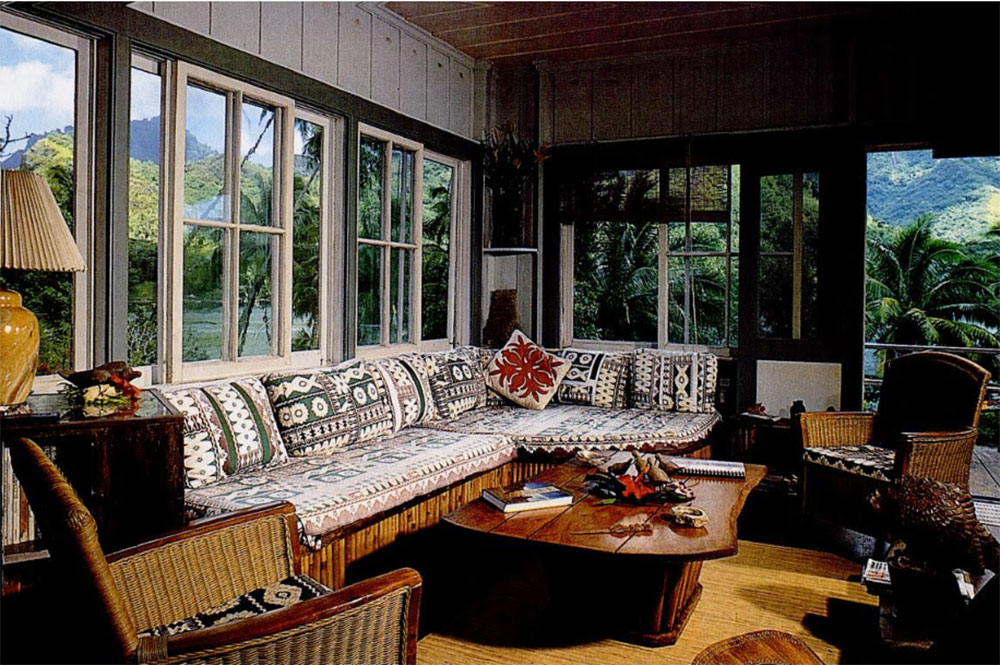 Intérieur de la maison Kellum de Moorea. Photo Islands magazine