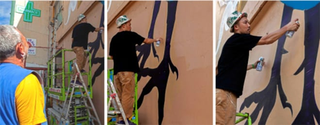 Street art à Papeete, le coq d'Anna marie Javouhey. Photo O'ohu /Suliane Favennec