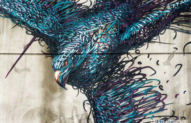 Street art, tête de l'oiseau à Papeete.