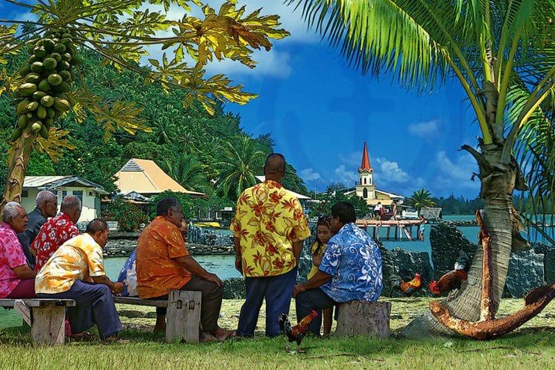 Floral shirts, temple de Maeva à Huahine. http://taiha.com/