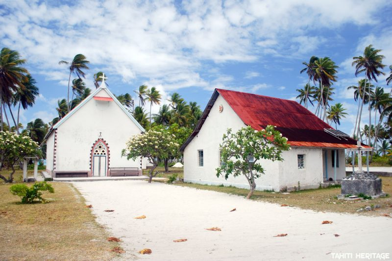 Eglise et presbytère de Raroia © Tahiti Heritage