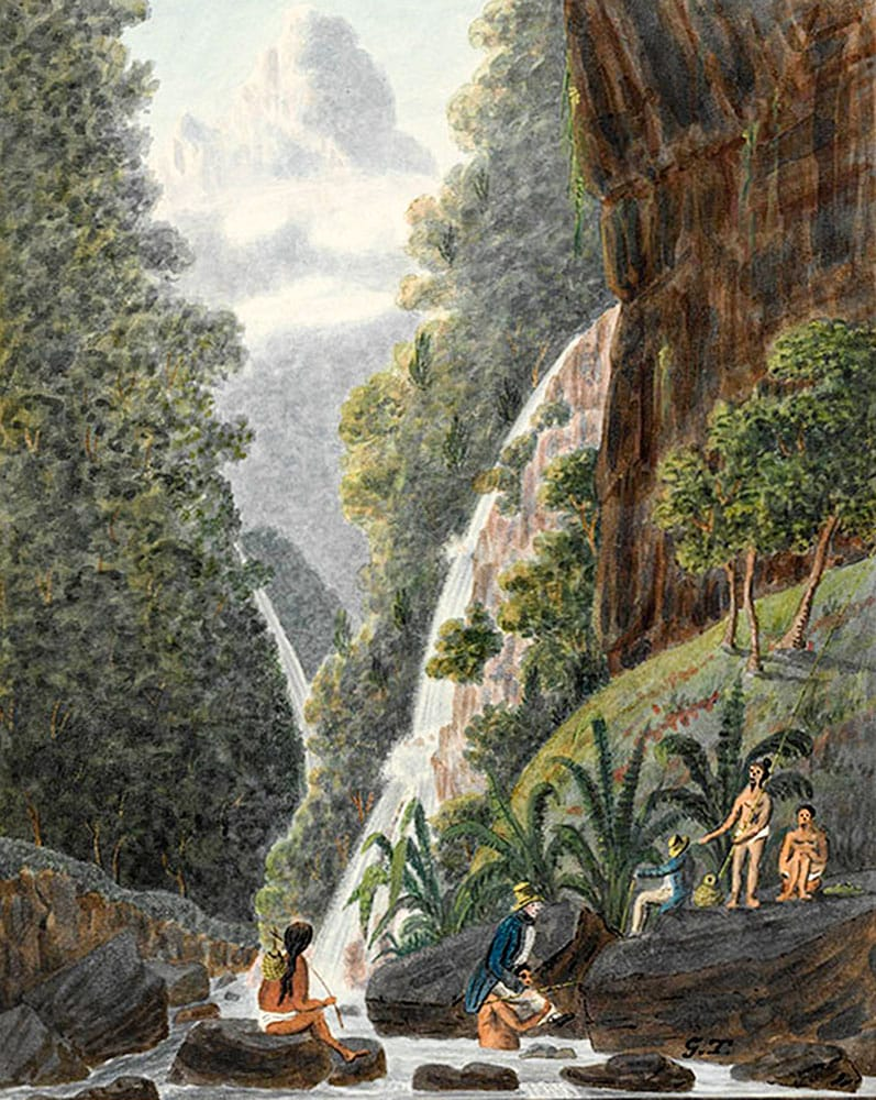 On Matavai River 1792. Aquarelle de George Tobin