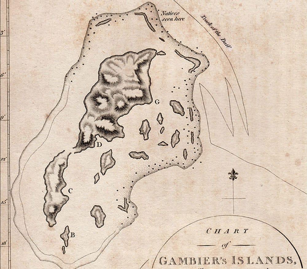 Carte de la navigation du Duff aux Gambier le 23 mai 1797.