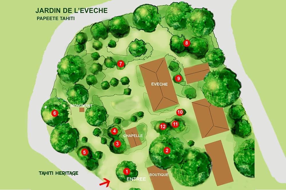 Plan du jardin de l'évéché © Tahiti Heritage