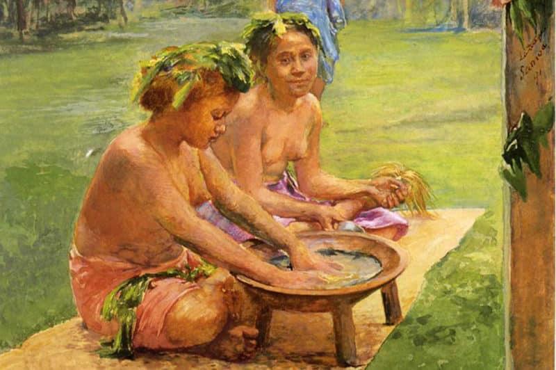 John LaFarge. Young girls preparing Kava