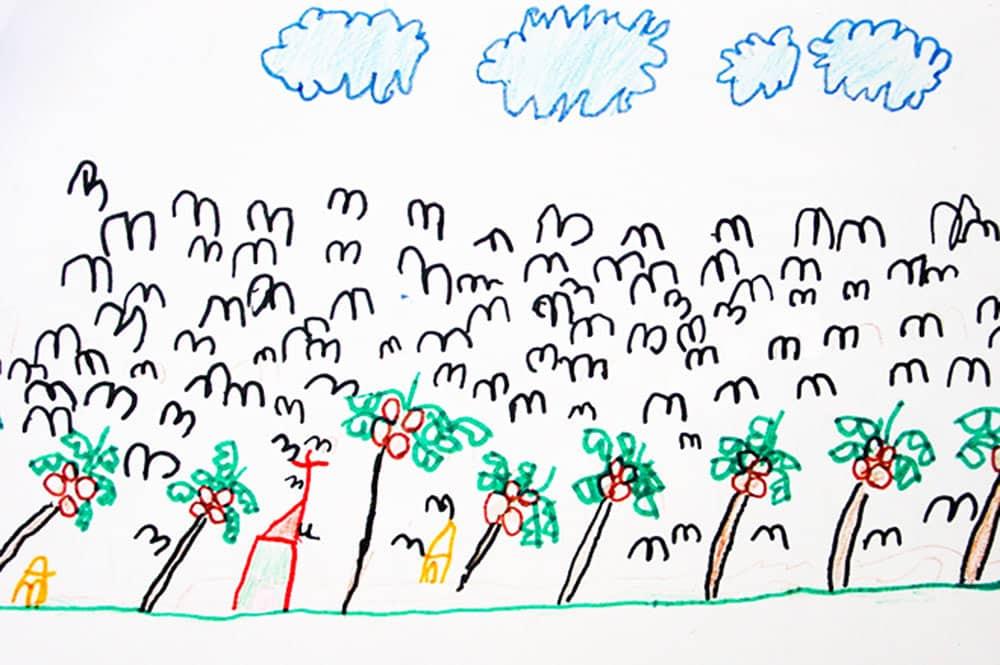 Motu aux oiseaux Kaveka. Dessin élève de l'école de Kauehi 2000