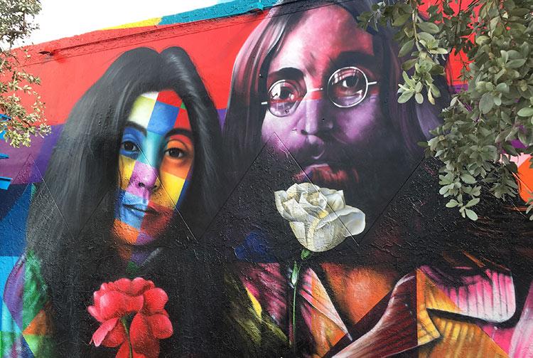 Visages de John Lennon et Yoko Ono par Kobra