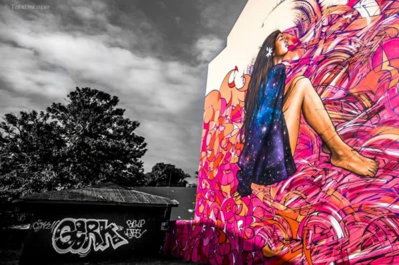 Vahine, street art, avenue du prince Hinoi à Papeete. Photo Steve Kuo de Tahitiscape
